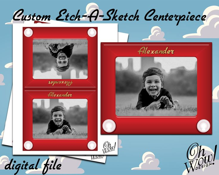 Custom Printable Toy Story Centerpieces ideas | Digital Etch-A-Sketch Centerpieces by OhWowDesign on Etsy