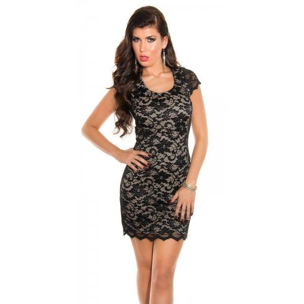21ac738a15f5 Čipkované šaty s krátkym rukávom Lace dress short sleeve Black Beige ...