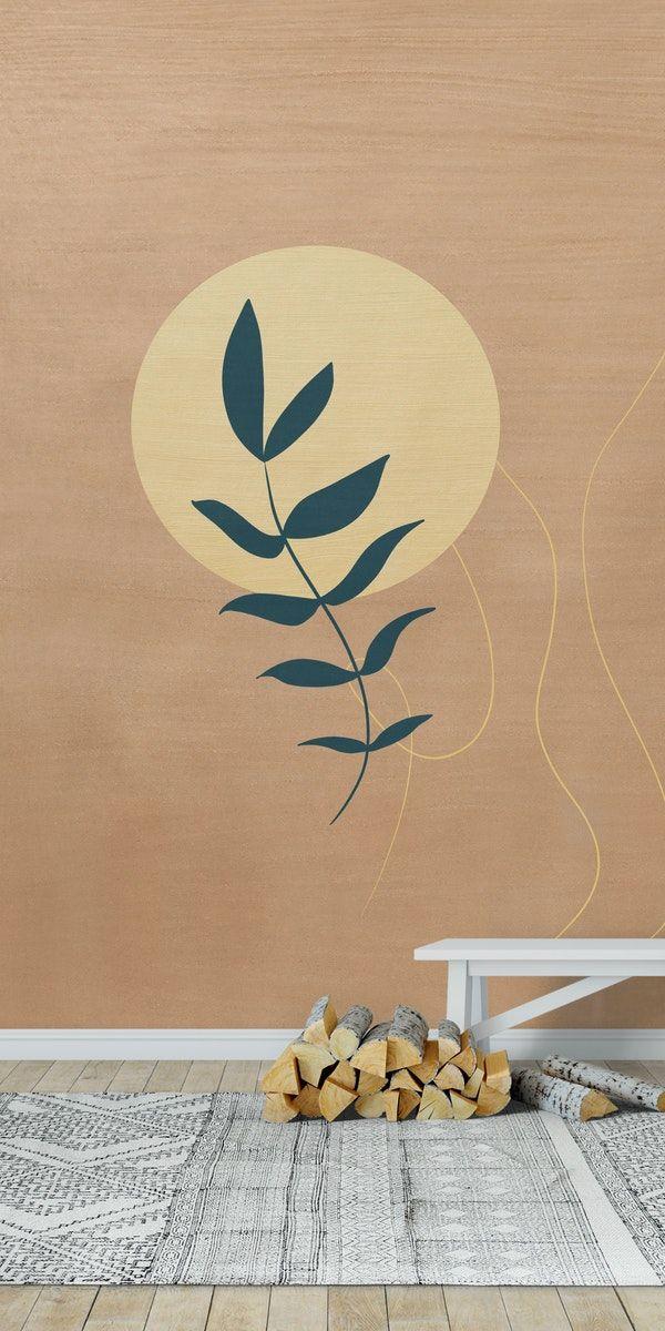 Desert Leaf 1 Wall Mural From Happywall Minimalism Sun Wallmural Wallmurals Illustration Wallpapers Blue Modern Abstract Wallpaper Wall Murals Abstract