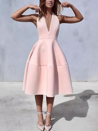 DESCRIPTION Fabric :Fabric has some stretch Season :Spring Pattern Type :Plain Sleeve Length :Sleeveless Color :Pink Dresses Length :Long Style :Club Material :Polyester Neckline :V neck Silhouette :A