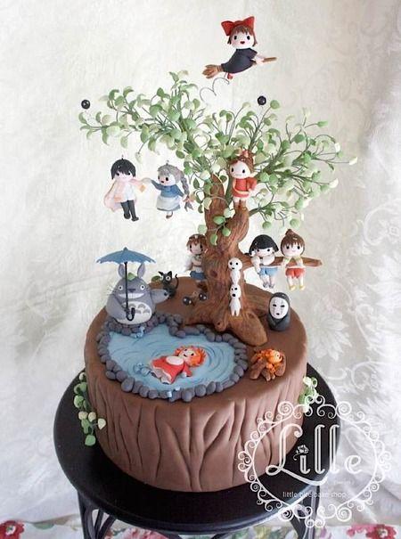 Hayao Miyazaki's Studio Ghibli-themed cake with characters from many movies. Kikki's Delivery Service, My Neighbor Totoro, Spirited Away, Ponyo, Princess Mononoke.