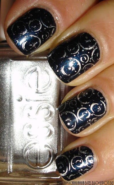 Original Art by My Chihuahua Bites.  Bourjois ~ Blue Moonlight and Essie ~ No Place Like Chrome.  Stamp: CH16.