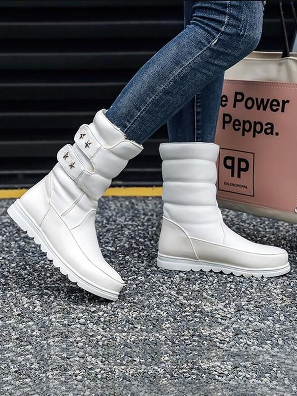 3167f5d978c New White Round Toe Flat Rivet Velcro Fashion Mid-Calf Boots ...