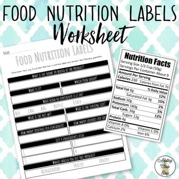 Food Nutrition Label Worksheet to practice reading and identifying different attributes about food products. Use any packaged food product that has a nutrition food label on the package to answer the questions. You might also like: Reading Nutrition Facts Task Clip Cards