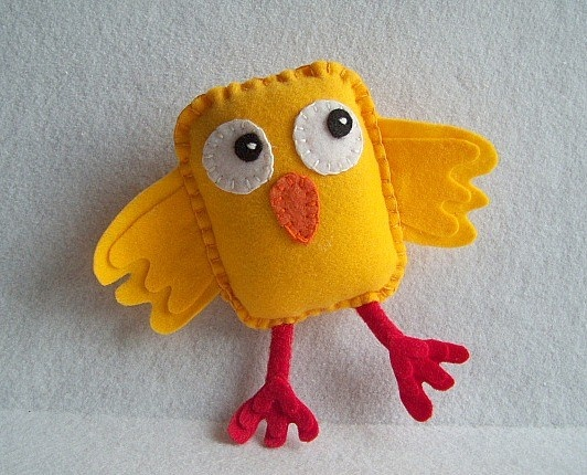 Mr Square Felt Chick ToyOOAK by CuddlWithMe on Etsy, $10.00