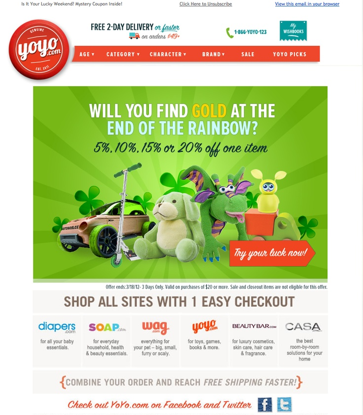 YoYo.com | After clicking, you discover your coupon on their site. I found a 20% off coupon! Does everyone get 20% off? ;) ;) clever.
