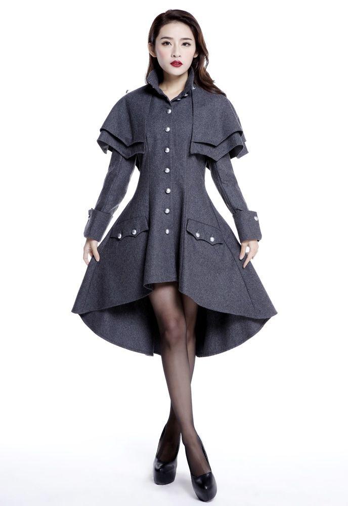 Manteau gothique long évasé gris                                                                                                                                                      Plus