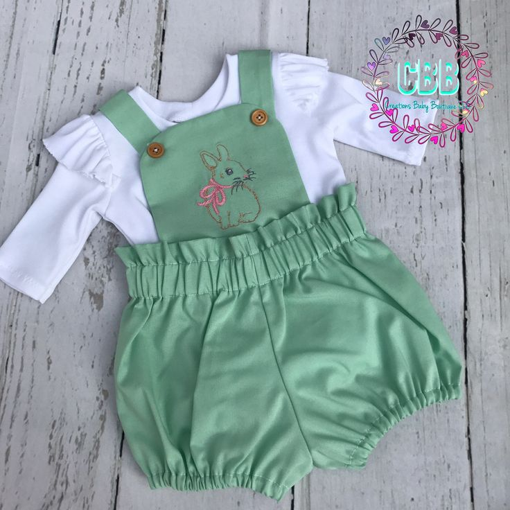Baby girl Easter outfit , baby  easter set , easter dress , Baby outfit , baby girl romper set , baby bloomers by CreationsBabyB on Etsy https://www.etsy.com/listing/583827083/baby-girl-easter-outfit-baby-easter-set