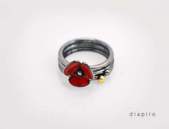 Silver Enamel Stacking Ring Red Enamel Handmade Jewelry