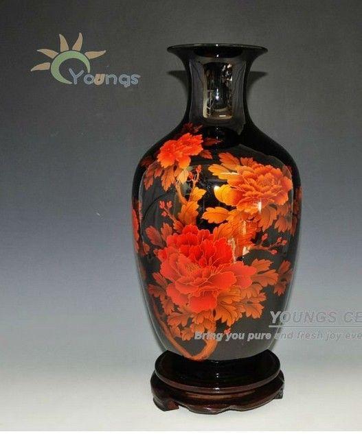 2013 черный кристалл рамой пион керамические вазы для домашнего декора