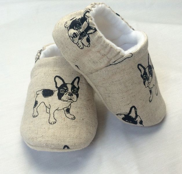 Soft sole baby boy shoe with French bulldog motif. Via en.DaWanda.com.