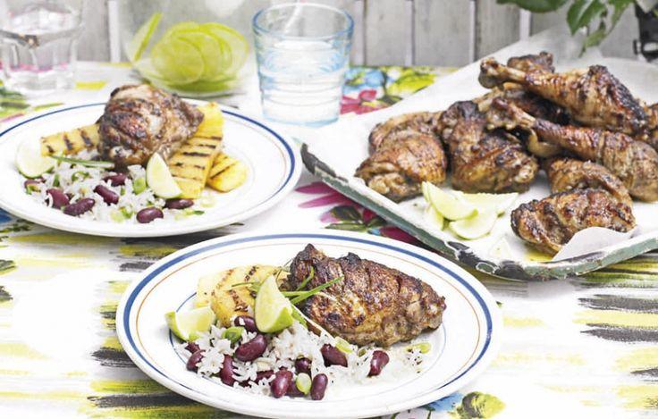 Jamaicaanse hete kip met gegrilde ananas en bonenrijst   ELLE Eten