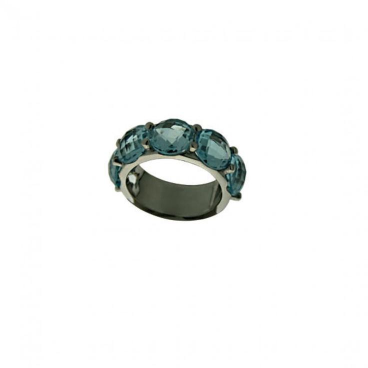 """Anello """"Riviere Briolette"""" in #argento lucido e #topazio azzurro."""