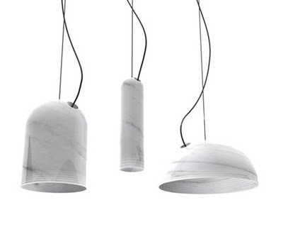 Marble lamps - Benjamin Hubert. I wonder whether the light will shine through the marble or not.