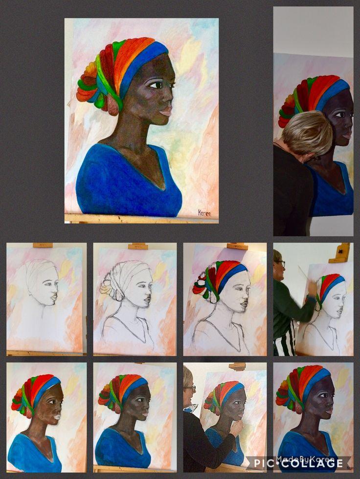 Afrikaanse vrouw. Acryl verf schilderij gemaakt.