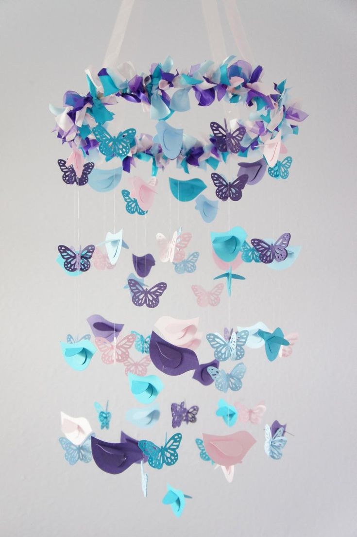 Nursery Mobile  Blue, Pink, Purple. Purple BirdPink PurpleButterfly Mobile Butterfly NurseryBird NurseryButterfly BabyBaby Shower DecorationsBaby ...