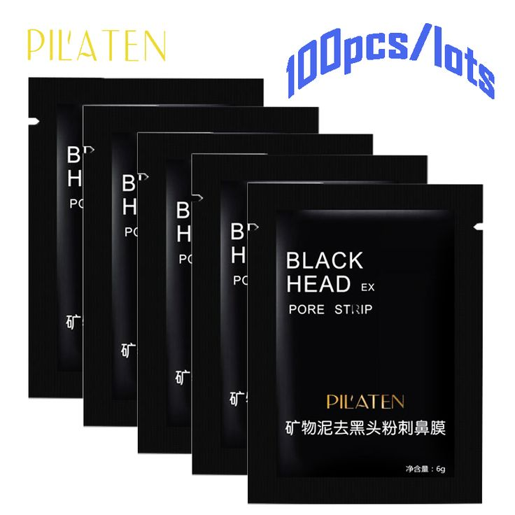 100PCS/LOTS Pilaten Blackhead Remover Mask Pore Cleanser For Nose And Facial  Deep Cleansing purifying Black Head