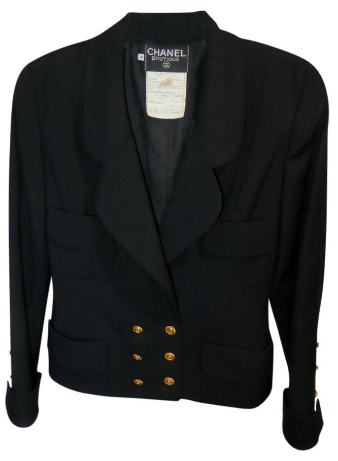 Chanel Boutique Wool Double Breasted Black Blazer. Free shipping and guaranteed…