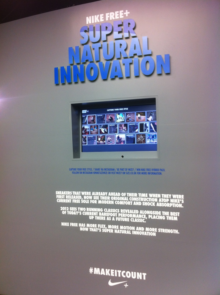 Nike Wize - Size? In-store Instagram API project Super natural Innovation - take snap of your sneaker style an upload to Instagram to be displayed on the in-store installation.