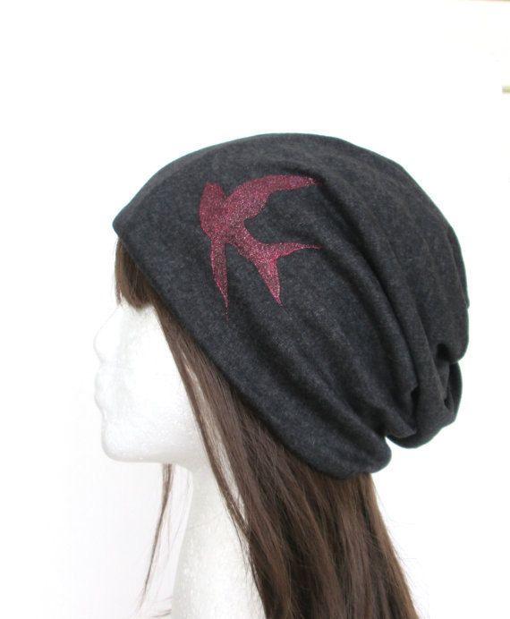 Valentine's Day gifts, Gifts For Women, Beanie Hat, Slouch Hat, Women's Beanie, Fashion Beanie, Summer Hat, Dark grey.