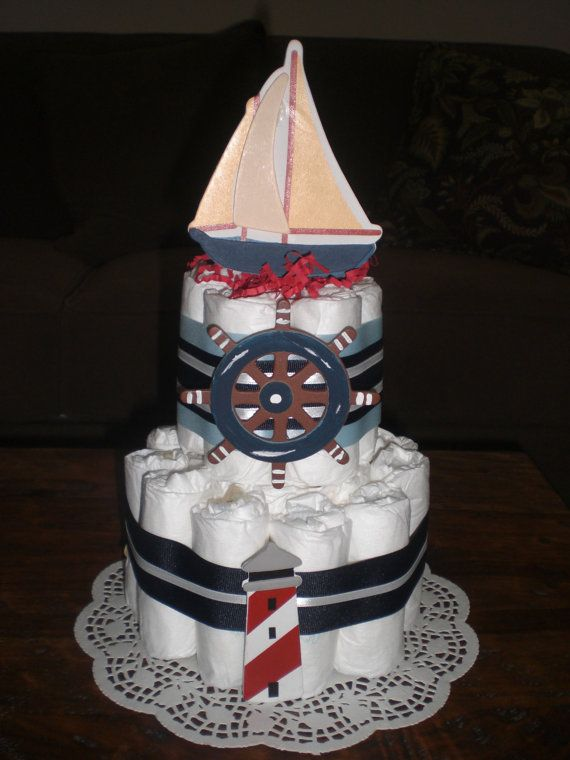 Wendy order Nautical Diaper Cake Sailboats Baby Shower Centerpiece, lighthouses, whales, other sizes and colors too