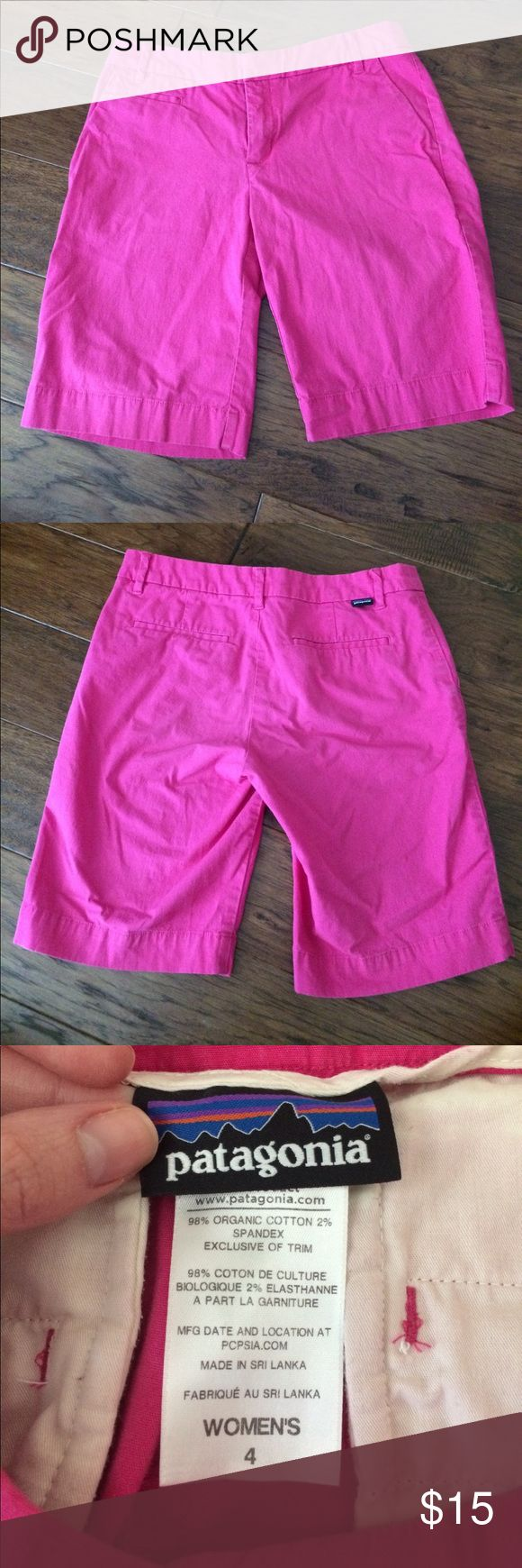 Patagonia shorts Pink, 9 inch inseam. Gently used, some wear from washing. Fits more like a 2. Patagonia Shorts Bermudas