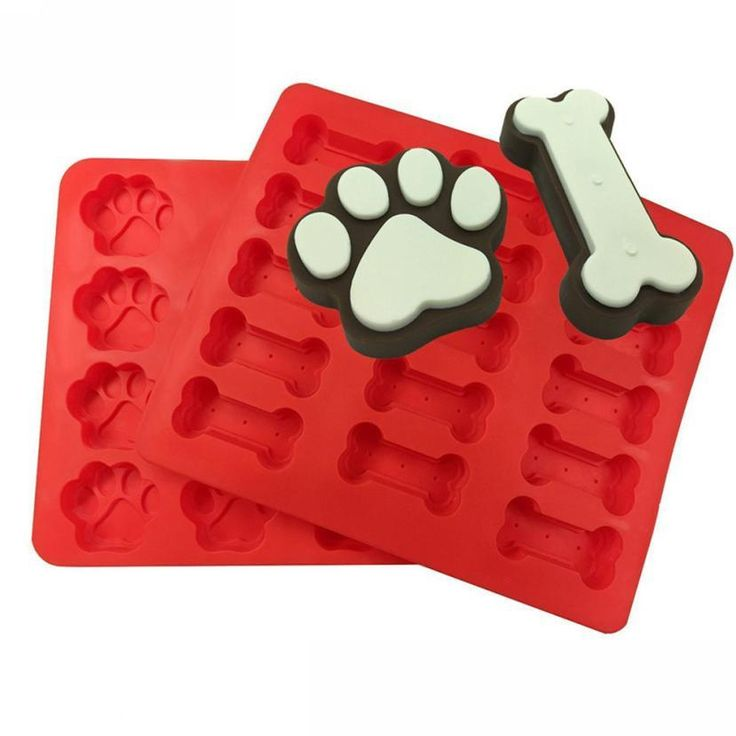 2pcs Food Grade Puppy Pets Dog Paws Bones Silicone Baking Molds Cake Mold Biscuit