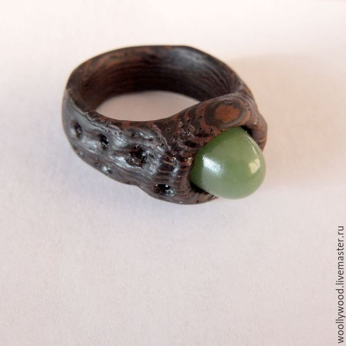 Buy Wooden ring with green jade - wooden ring, wood, woodcarving, ring handmade