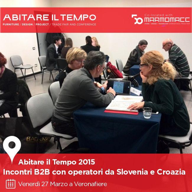 Il primo appuntamento #b2b del 2015 per gli espositori di #AbitareIlTempo, con operatori #interior #design #contract da #Slovenia e #Croazia. Scopri di più sulle iniziative di business networking di Abitare il Tempo: http://goo.gl/XzKBuc!