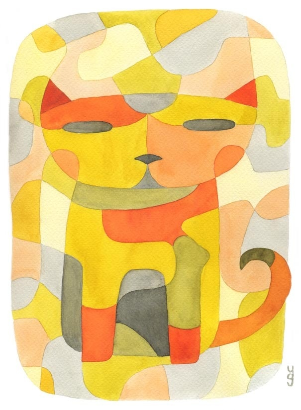 Cat 1 Nursery Art Print Mid Century Modern Poster A4