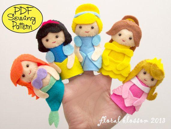 Patrón digital: Princesa fieltro titeres de dedo por FloralBlossom