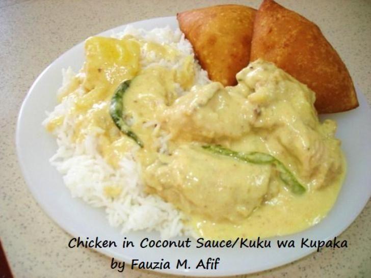 Chicken in Coconut Sauce. Authentic Mombasa/Coastal (East African) dish...Kuku wa Kupaka...shortened to Kukupaka. Chicken cooked in spicy coconut sauce served with coconut rice and mandazi. One of the yummiest coastal dishes I know!