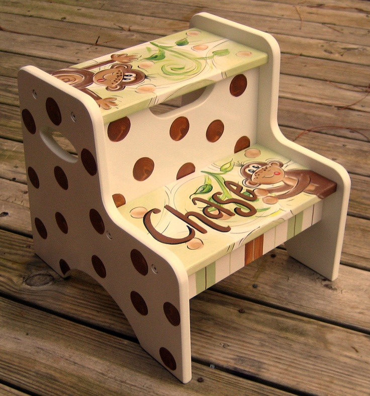 Monkey Hand Painted Childs Step Stool. $79.99, via Etsy. Is someone spying on me? This is totally Chase's theme too!