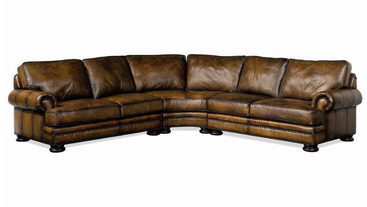 Foster Leather Sectional Sofa With Nailhead Trim By