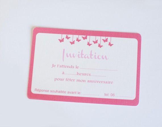 10 Cartons anniversaire fille rose et blanc thème papillon