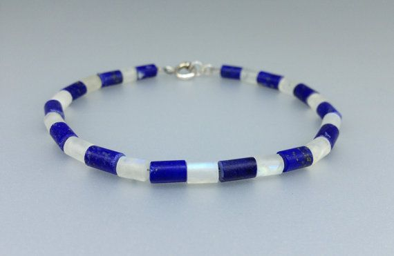 Summer fun - Lapis Lazuli and Moonstone bracelet for him or her by gemoryprague. Explore more products on http://gemoryprague.etsy.com