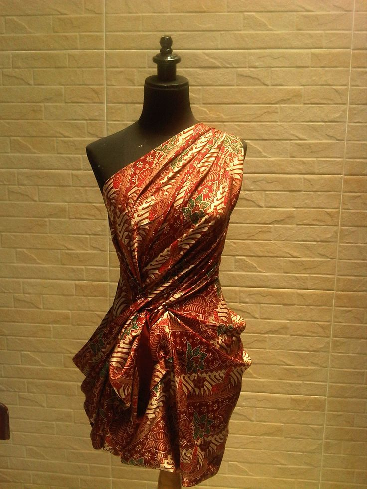 Wrap n drapped dress with indonesia traditional silk batik