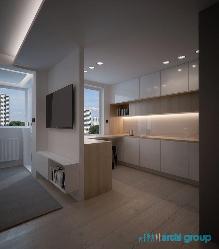 Kitchen design in flat in Katowice, POLAND - archi group. Kuchnia w mieszkaniu w Katowicach.