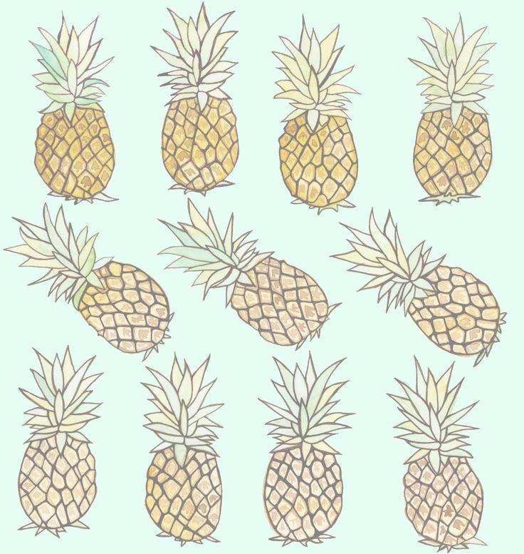 Motifs d'ananas, aquarelle sur papier, ©Claudia Tremblay, 2014