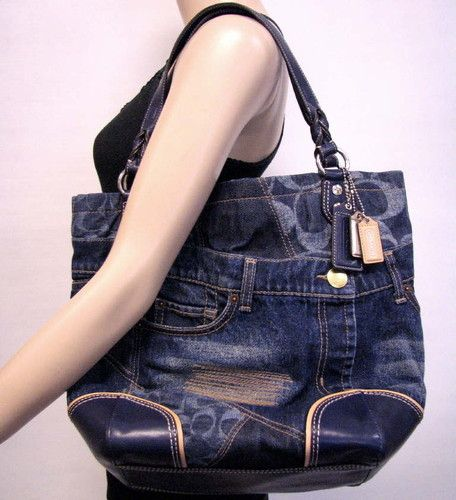 Coach Heritage #19884 Limited Edition Blue Denim Patchwork Tote Purse ...