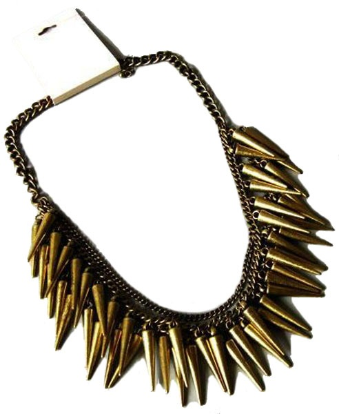 Layered Necklace with Double Row Spike Pendant