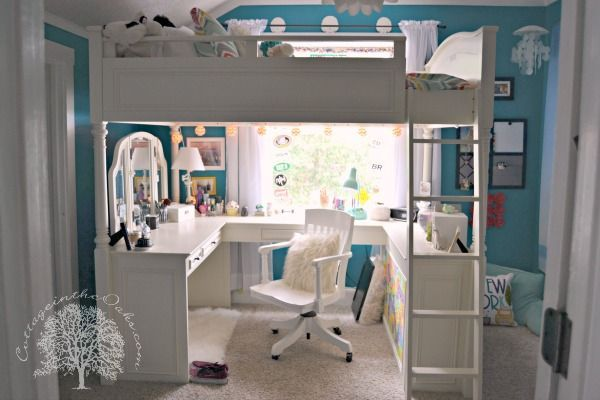 Teen Girl's Bedroom with a loft bed: