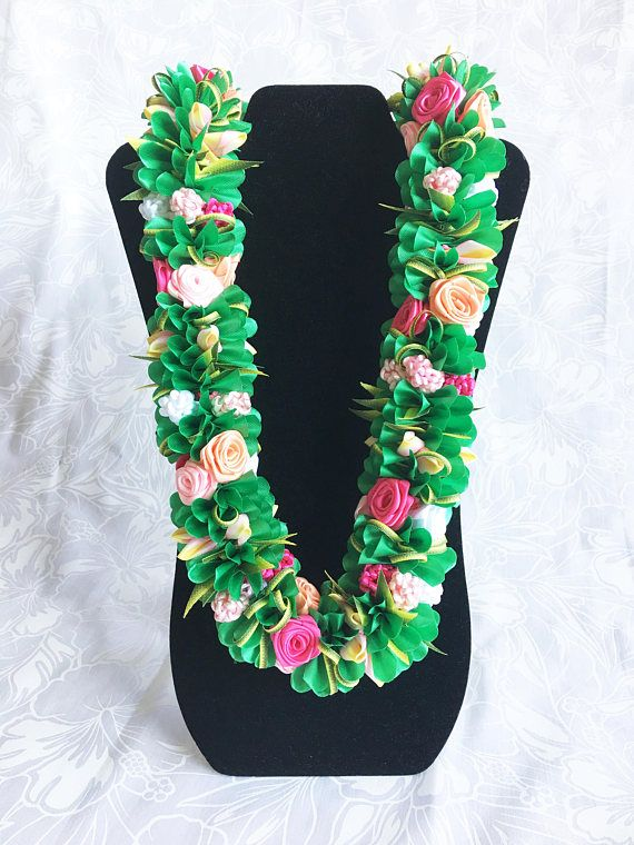 Graduation Lei Leis Pink Rose Hawaiian Ribbon Lei Hula dance Hawaii Aloha