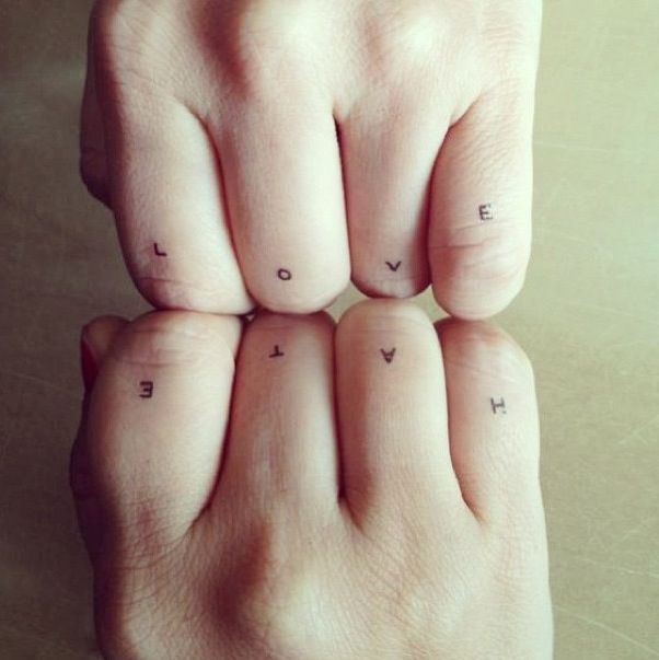 not on hands but placement of letters like this in tiny capitals somewhere on body i like