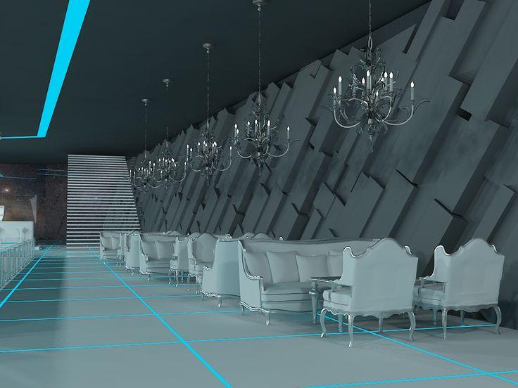 Tron style club interior with aleksandra gromova by nikita voronov at coroflot com