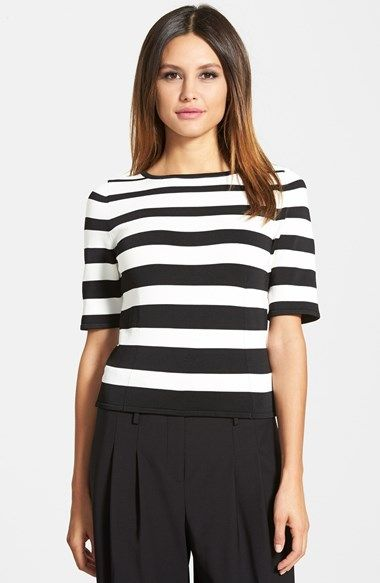 Pink Tartan Graduated Stripe Stretch Knit Top available at #Nordstrom