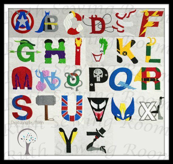 superhero and villain alphabet font embroidery design  batman  hulk  thor  robin  the flash