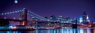Brooklyn Bridge and Manhattan Skyline with a Full Moon Overhead-New York Plakat af Littleny på AllPosters.dk