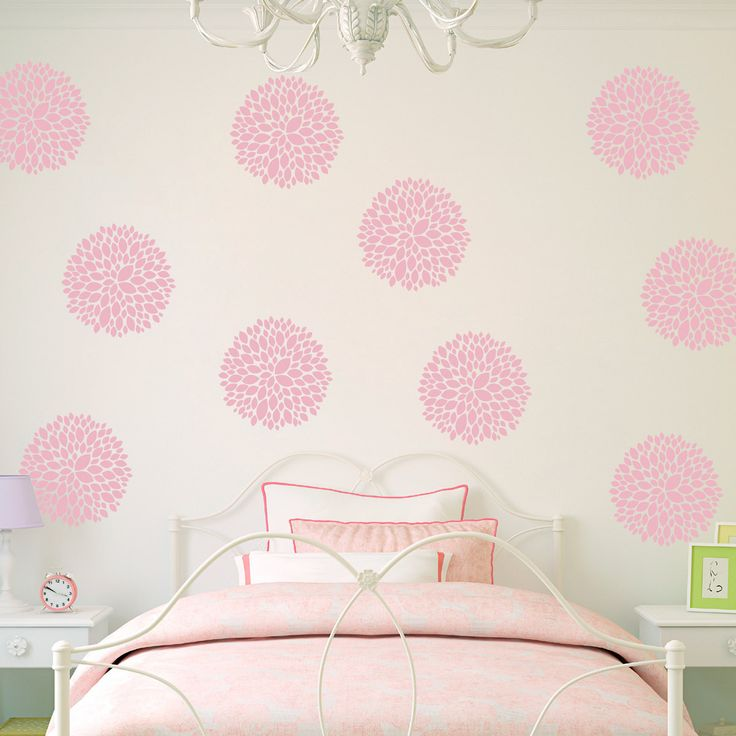 Flower Wall Decals - Set of 10 Peony Flowers - Flower Decals for Girls Bedroom
