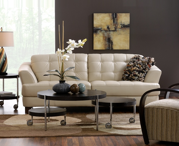 Delray Taupe All Leather Sofa Also Available In Red And